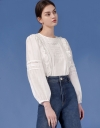 Lace Insert Long Sleeve Top with Ruffled Panels