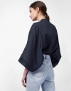 Long Sleeve Button Up Oversized Shirt with Lace Insert