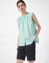 Button-up Sleeveless Top with Pleat Detail