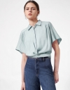 Short Sleeve Front Placket Shirt with Back Pleat and Tie Details