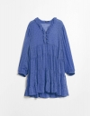 V Neck Ruffled Tier Dress with Long Sleeves