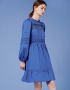 Long Sleeve Dress with Lace Insert Bodice