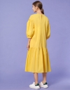 Tie Neck Midi Dress with Gathered Puff Sleeves