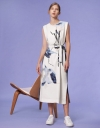Art Print Dress with Contrast Back