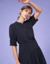 V-Neck Button Up Maxi Dress with Ruched Waist