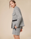 Long Sleeved Tweed Jacket with Patch Pockets