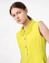 Lace Collar Button Front Sleeveless Dress