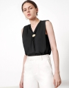 Drape Front Sleeveless Top with Embellished Button