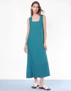 Square Neck Pleated Maxi Dress With Button Back Detail