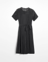 Eyelet Midi Dress with Waist Tie and Side Pleats
