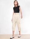 Oversized Patch Pockets Belted Trousers