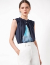 Button-up Sleeveless Printed Top with Pleat Detail