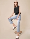 Button Front Textured Top with Pearl Embellished Collar