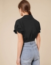 Button Front Shirt with Ruched Sleeves and Back