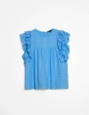 Ruffle Sleeve Lace Detail Top