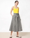 Front Tie Gingham Print Culottes