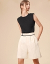 Contrasting Outline Pleat Detail Shorts