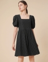 Square Neck Eyelet Lace Detail Dress with Short Puff Sleeves