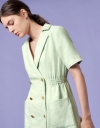 Double-breasted Tweed Dress with Patch Pockets