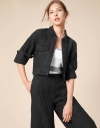 Front Pockets Textured Cropped Shirt