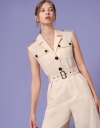 Belted Wide Leg Utility Jumpsuit with Pockets