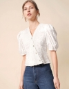 V-Neck Textured Top with Puff Sleeve